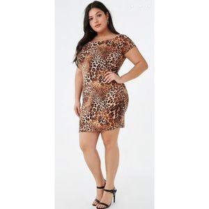 Forever 21 Plus Size Leopard Print Mini Dress 3X